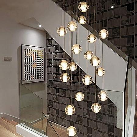 MASODHDFX Moderna Escalera Grande de Cristal Accesorios de iluminación de araña de Cristal Colgando Brillo Cristal Largo Loft Bolas de Vidrio lámpara de araña: Amazon.es: Hogar