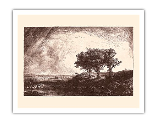 (Pacifica Island Art The Three Trees - From an Original Etching and Drypoint by Rembrandt Harmenszoon van Rijn c.1643 - Fine Art Print - 11in x 14in)