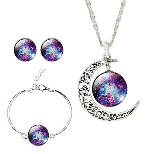 Women Charm Purple Galactic Cosmic Star Sky Time Gemstone Bracelet Earrings Necklace Set Xmas Gift (Earrings And Bracelet Set)