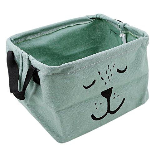 (HuoGuo Brand Creative Foldable Cloth Storage Box Closet Dresser Drawer Divider Organizer Basket Bins for Underwear Bras With Handle,Green)
