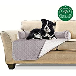 Furhaven Pet Furniture Cover | Sofa Buddy Two-Tone Reversible Water-Resistant Living Room Furniture Cover Protector Pet Bed for Dogs & Cats, Gray/Mist, Medium