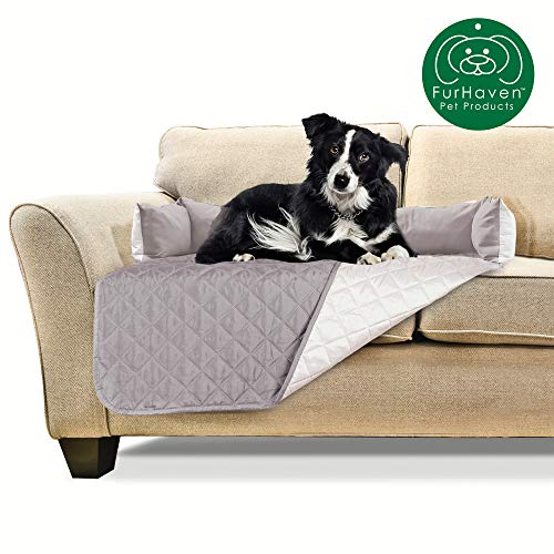Furhaven Pet Furniture Cover   Sofa Buddy Two-Tone Reversible Water-Resistant Living Room Furniture Cover Protector Pet Bed for Dogs & Cats, Gray/Mist, Medium (Dog Couch Protector)