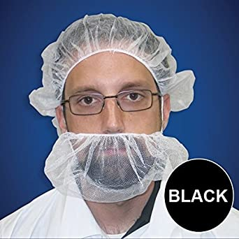 Beard Nets, Nylon Honeycomb, Black, 500/Case