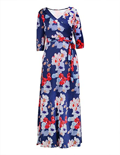 Print 3/4 Sleeve (DAYSOFT Women Vintage Floral Print V Neck 3/4 Sleeve Long Maxi Fitted Dress with Belt (XL, 002))