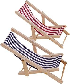 Dollhouse Miniature Deck Chair Sun Lounger Garden Patio Beach Seaside Purple