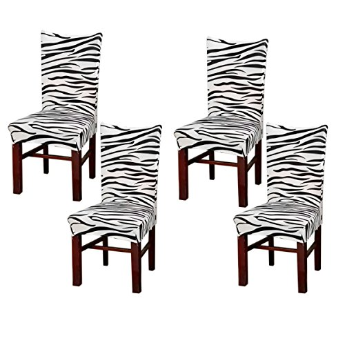 Beyonder Super Fit Stretch Removable Washable Short Dining Chair Cover Protector Seat Slipcover for Hotel,Dining Room,Ceremony,etc (4Pcs - Slipcover Zebra