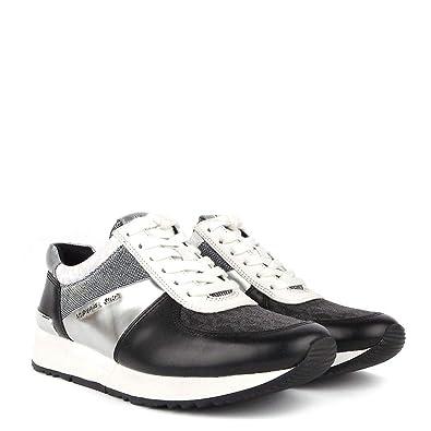 976c7a95e5038 Michael Kors MK Women's Allie Trainer Leather (8.5, Black/Silver)
