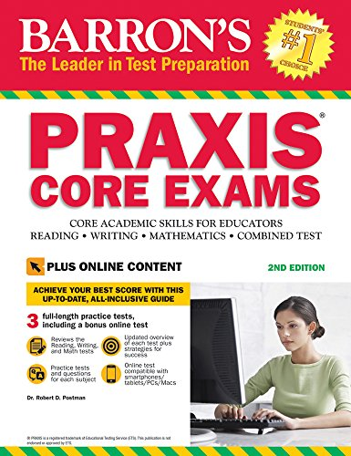 """Barron's PRAXIS CORE EXAMS, 2nd Edition: Core Academic Skills for Educators with Online Test"" (Barron's Praxis Core Exams (Core Academic Skills for Educators)) [Dr. Robert D. Postman] (Tapa Blanda)"