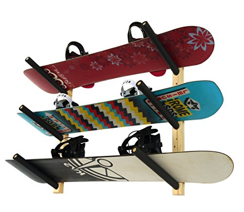 3 Snowboard Rack | Wood Wall Storage Mount | StoreYourBoard