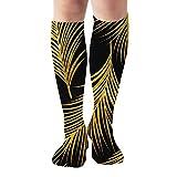 """Golden Palm Leaves Art Women'S Men'S Knee High Socks Athletic Socks 19.7""""(50Cm)"""