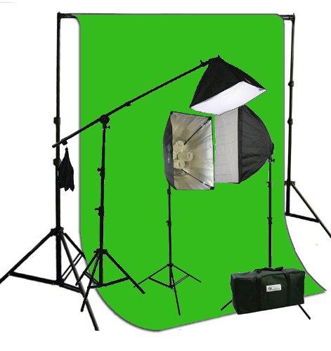ePhotoInc 3200ワットソフトボックス写真ビデオStudio Portrait 3200 K暖かい照明with 10 x 12 Chromakey Muslinグリーン画面Backdropサポートスタンドセットh604sb2 – 1012 G 3200 K   B00CPTGWU6