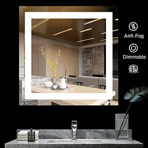 BATH KNOT Wall Mounted Smart Vanity Mirror with Lights - LED Square Bathroom Makeup Vanity Mirror with ETL Certification for Whole Mirror, 36 x 36 Inch ()