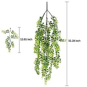 HOGADO 2pcs Artificial Ivy Fake Hanging Vine Plants Decor Plastic Greenery for Home Wall Indoor Outdside Hanging Basket 6
