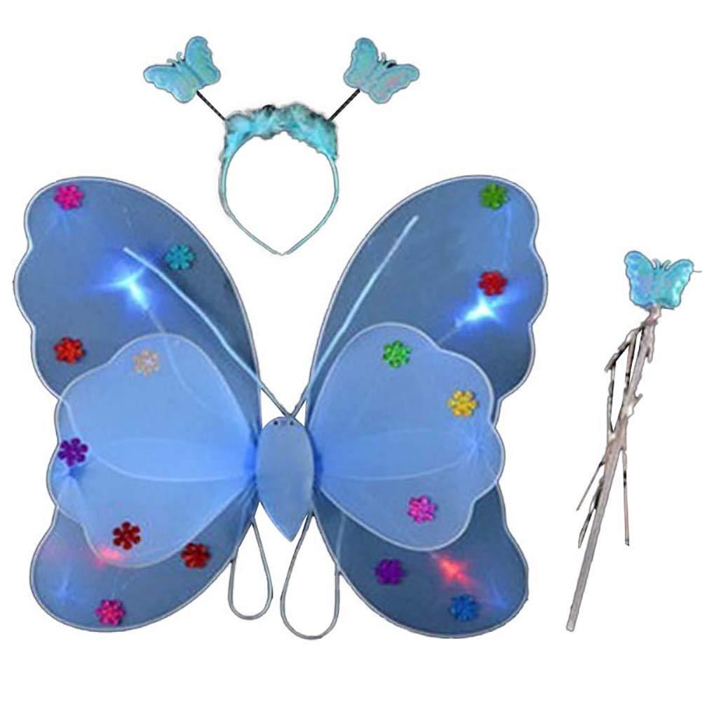BOBORA 3pcs//Set Girls Glitter Fairy Butterfly Wing Wand with Flashing Lights Children Dress-Up Fancy Dress 3-13Years