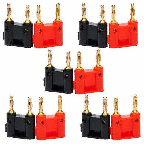 Wideskall 10 Pcs Dual Banana Plug Screw Type Speaker Connector (Black & Red)