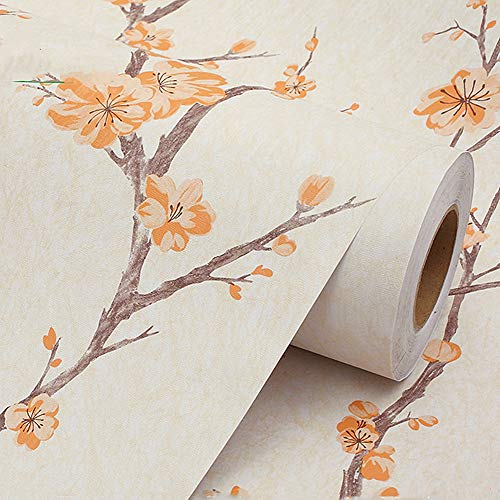 MULLSAN Orange Flower Vine Peel and Stick Decorative Vinyl Film Self-Adhesive PVC Wall Paper 17.7''x118'' ()