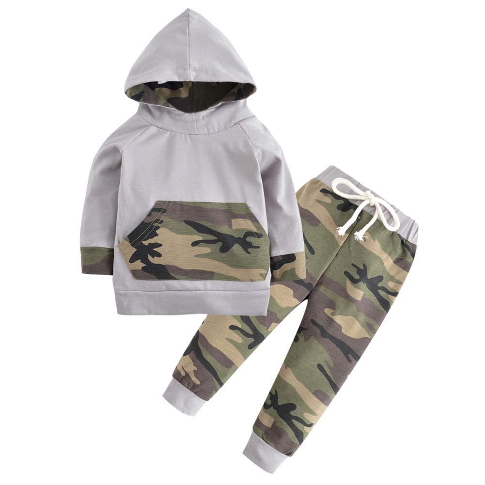 Baby Boy Camouflage Trainingsanzug Hoodie Sweatshirt und Hose 2 Stück Kleidung Set