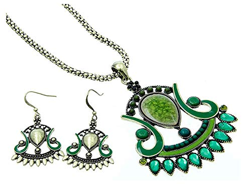 Green Lucite Bead Necklace - Fashion Jewelry ~ Lucite Beads Large Pendant Statement Necklace and Earrings Set (Green)