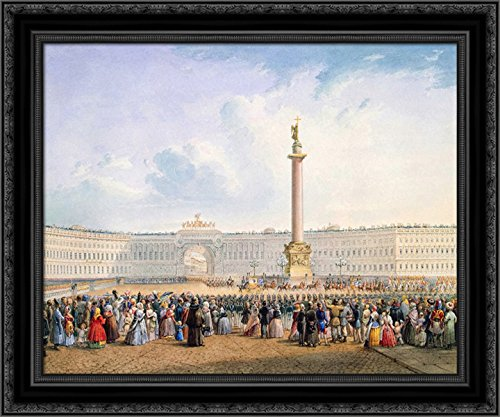 View of Palace Square and The General Headquarters Building in St. Petersburg 24x20 Black Ornate Wood Framed Canvas Art by Vasily Sadovnikov (Petersburg St Galleria)