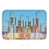 Flannel Microfiber Non-slip Rubber Backing Soft Absorbent Doormat Mat Rug Carpet Building City Under Construction Website With Tower Cranes Constructions Infographics Template 455371744 for Indoor/Out
