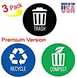 iTouchless Recycle, Trash & Compost Premium Vinyl Stickers for Trash Can/Recycle Bin/Compost Bin; 4'' Round Waterproof, Reusable (Set of 3); Indoor/Outdoor (4''x4'')