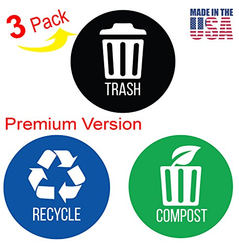 Round Paper Recycling Container (iTouchless Trash Stickers Premium Vinyl Decals for Trash Can; 3