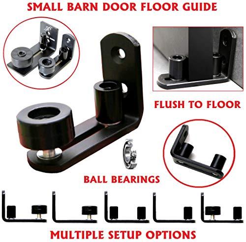 Floradis Small Stay Roller Floor Guide For Bottom Of Sliding Barn Doors. Ultra Smooth Ball Bearings Wheel. Flush To Floor. Fully Adjustable Hardware. Multiple Setups. Black Wall Mount Stop Guides
