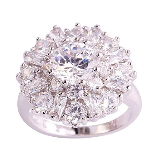 Zirconia Elephant Cubic - Psiroy 925 Sterling Silver Created White Topaz Filled Cluster Flower Statement Ring Size 11