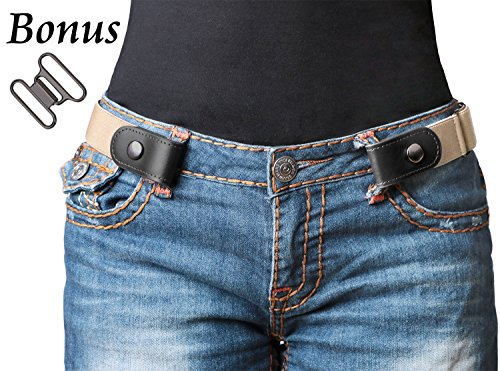 No Buckle Women/Men Stretch Belt Elastic Waist Belt Up to 42