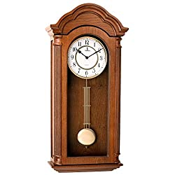 Verona Carved Wooden Wall Clock with Pendulum - Elegant & decorative wood clock with light brown finish and glass front - 26 x 12 x 4.75 inch - Beautiful piece - Battery operated & silent