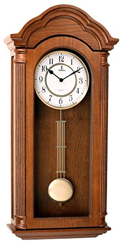 (Pendulum Wall Clock, Silent Decorative Wood Clock with Swinging Pendulum, Battery Operated, Large Carved Wooden Design, for Living Room, Kitchen, Office & Home Décor, 26 x 12 inches)