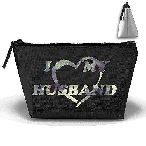 Couple I Love My Husband Matching Love Camouflage Large Portable Cosmetic Bag Pouch Tote Handbag Work Bag With Zipper by ARTQ
