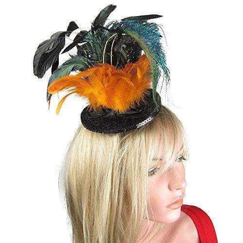 SACASUSA Black Glitter Mini Top Hat Feather Fascinator Headwear Hair Clip In (Mini Glitter Hat)