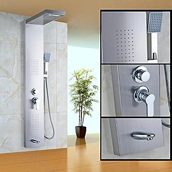 BL- níquel cepillado único mango baño columna de ducha cuerpo ...
