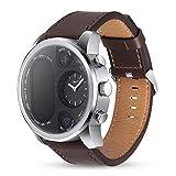 Julitech Deporte híbrido Reloj Inteligente en Espera 15 días de Acero Inoxidable Fitness Activity Tracker IP68 Impermeable Brim SmartWatch Hombres Mujeres,Brown