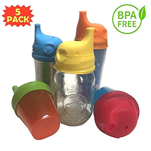 Infant Works Silicone Sippy Cup Lids for Toddlers - Spill Proof - Leak Proof - Fits Any Kids Cup or Bottle - FDA Approved - BPA Free - 100% Food ()
