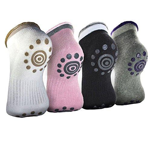 4 Pair Non Skid Cotton Yoga Socks Barre Socks for Women
