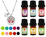 #7: Tree of Life Essential Oil Diffuser Necklace Gift Set Stainless Steel One Piece Locket Pendant, 24
