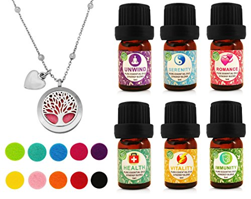 Tree of Life Essential Oil Diffuser Necklace Gift Set Stainless Steel One Piece Locket Pendant, 24 Adjustable Chain & 6 Synergy Blends (Unwind, Health, Serenity, Vitality, Romance, Immunity)