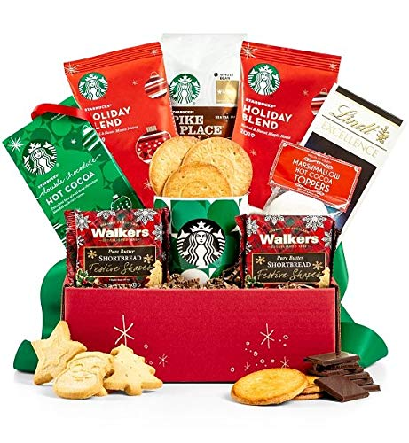 GiftTree Starbucks Home for the Holidays | Rich Coffee & Hot Cocoa Including the Pike Place Roast & Holiday Blend | Ceramic Mug with Lindt Sea Salt Chocolate, Cookies, & More |Christmas Gift