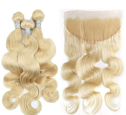 Fabwigs 613 Blonde Human Hair 3 Bundles Weft With Lace Frontal Body Wave Unprocessed Brazilian Human Hair (10 12 14 Bundle+10 Free Part Frontal)