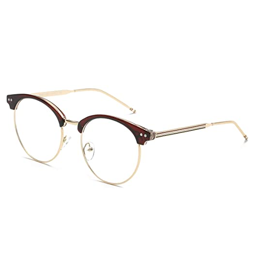 e7f80bdcfa3 Image Unavailable. Image not available for. Color  AISSWZBER Vintage  Classic Semi-Rimless Half Frame Round Rimmed Clear Lens Glasses
