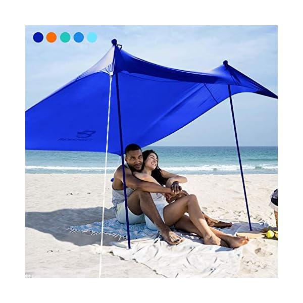 51%2BJh5wKV6L Bessport Strandzelt Sonnenschutz Kommt mit 4 Sandsäcken und 4 Aluminiumstangen 3mx3m   UPF 50+ UV Sonnenschutz…