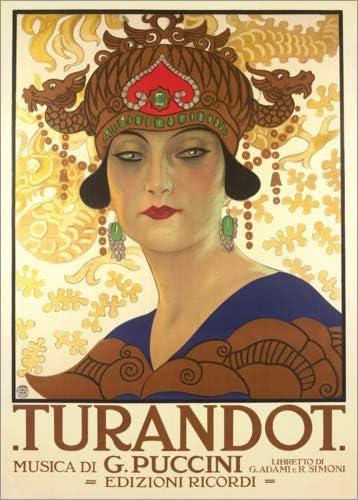 Nuovo Poster Artistico di Leopoldo Metlicovitz Poster 50 x 70 cm: Turandot Italian Stampa Artistica Professionale