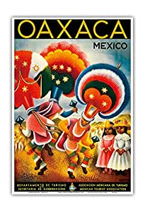Oaxaca, Mexico - Costumed Native Dancers - Vintage World Travel Poster by Miguel Covarrubias c.1943 - Master Art Print - 13in x 19in