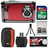 Bell & Howell Splash3 WP20 HD Shock & Waterproof Digital Camera (Red) with 16GB Card + Case + Reader + Tripod + Kit