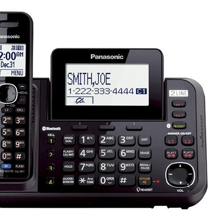 Panasonic KX-TG9552B + (4) KX-TGA950B Link2Cell Bluetooth Enabled 2-Line Phone with Answering Machine (6 Handset) by Panasonic (Image #1)