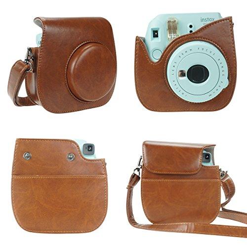 Anter 17 in 1 Instax Mini 9 Mini 8 Mini 8+ Accessories for Fujifilm Instax Instant Film Camera with Case/Pen/Stickers/Frame/Memo Clip/Cloth/Album/Selfie Lens/Filters/Strap (Retro Brown)