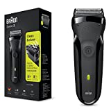 Braun Series 3 300s Rechargeable Electric Foil Shaver/Stubble Shaver for Men Face, Black