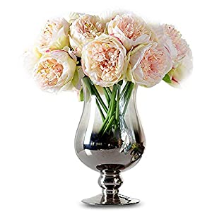 PHEZEN Bridal Wedding Party Festival Xmas 5 Head Artificial Peony Silk Flower Fake Beautiful Faux Flower Bunch Home Decoration Bouquet 93